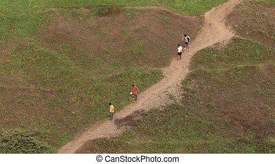 People, South America - people walking in Lima, Peru