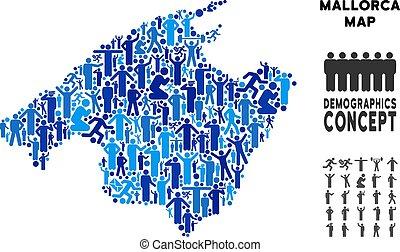 People Spain Mallorca Island Map - Vector population Spain...