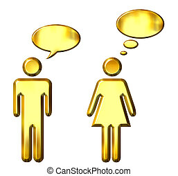 People speaking and thinking - 3d golden people speaking and...
