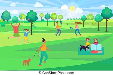 People Spending Leisure Time in Park Illustration - People...