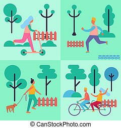 People Spending their Leisure Time Illustrations - People...