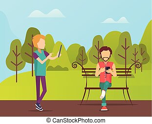 People Spending Time in Park, Man Sitting on Bench