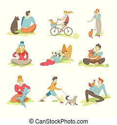 People spending time with pets on nature set vector