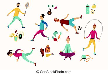 People sport activities Dieting, fitness and nutrition...