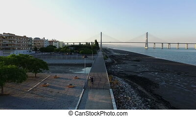 People sporting in Lisbon Portugal - Aerial from people...