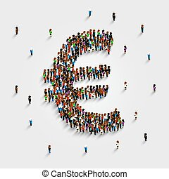 People stand in the shape of a euro money symbol. Vector illustration