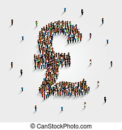 People stand in the shape of a pound money symbol. Vector illustration