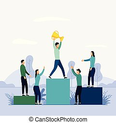 People stand on the podium first, second and third place, business concept vector illustration