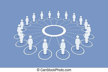 People standing around a circle connecting with each others.
