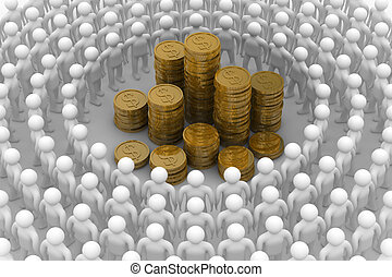 People standing around of money. Isolated 3D image