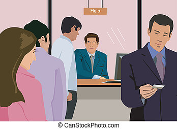 People standing at help counter in bank