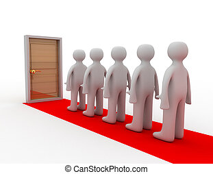 closed door clipart. People Standing Before Closed Door Clipart