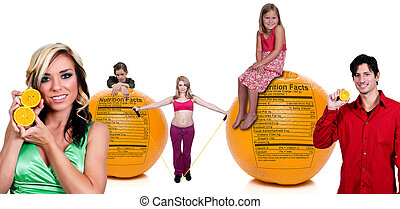 People Standing Behind Orange with Nutrition Label