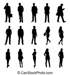 People Standing Black Silhouettes