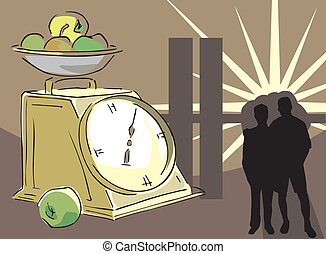 People standing by clock with fruit bowl