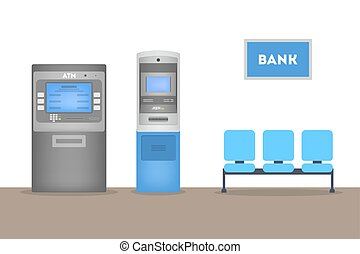 People standing in bank office at ATM. Making money