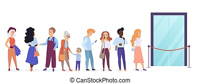 People standing in queue line in front of shop entrance doors. Cartoon man and woman waiting near boutique, store and showroom opening vector illustration.