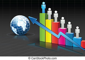 People standing on Bar Graph