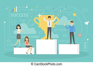 People standing on pedestal and celebrate success