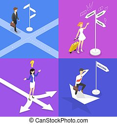 People standing on the crossroads and thinking