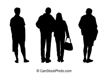 people standing outdoor silhouettes set 2