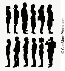 People standing silhouettes