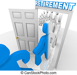 People Stepping Through the Retirement Doorway to Retire - A...