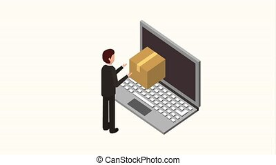people storage data mobile - businessman and laptop...