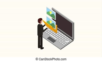 people storage data mobile - businessman and laptop folder...