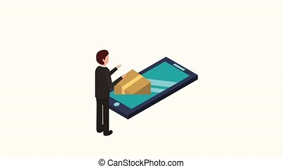people storage data mobile - businessman phone cardboard box...