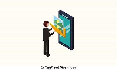 people storage data mobile - businessman phone folder photo...