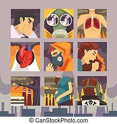 People Suffering from Industrial Smog, Diseases aused By Air Pollution Vector Illustration