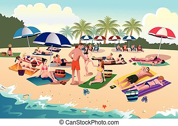 People sunbathing on the beach - A vector illustration of...