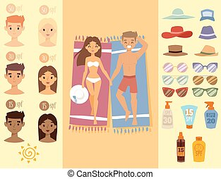 People sunshine tan beach outdoors summer suntan sun characters skin protection sunburn vector illustration.
