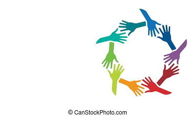 People Supported Hands out Together. Video Animation -...