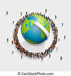 People surrounded the globe. 3d isometric. Vector illustration