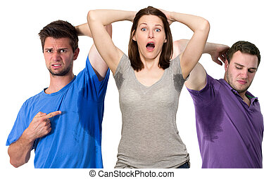 People sweating very badly under armpit - Composite of...