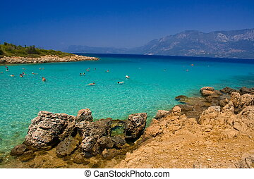 people swiming in turquoise sea
