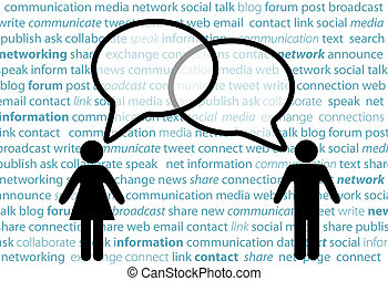 People symbol share social network talk bubbles