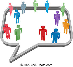 People symbols in social media network speech bubble
