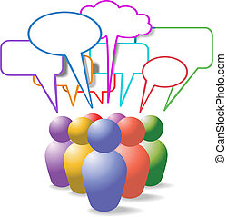 People symbols social media speech bubbles