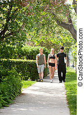 People taking morning walk