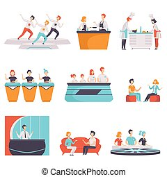 People taking part in a TV show set, TV news, interview, quiz, cooking show vector Illustrations on a white background