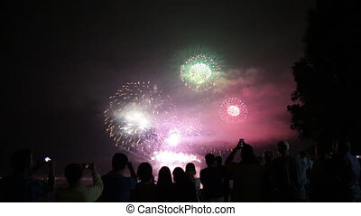 People taking photos beautiful firework background
