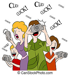 An image of people taking pictures with cameras.