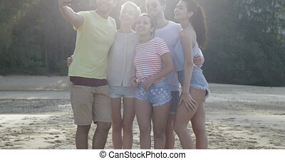 People Taking Selfie Photo Together On Beach, Young Friends...