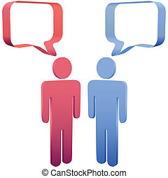 People talk in 3D social media speech bubbles - Red and blue...