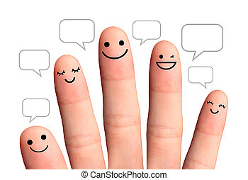 People talk in speech bubbles, isolated with clipping paths.