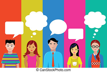 people talk - many different colorful people icons - vector ...