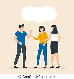 People talk. Teamwork share opinion, team meeting sharing idea to solve problem, collective thinking and brainstorming.